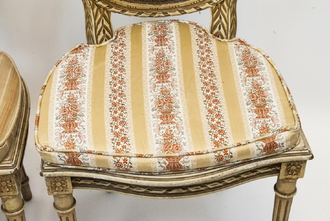 Pair Antique Carved & Caned French Style Chairs - 4