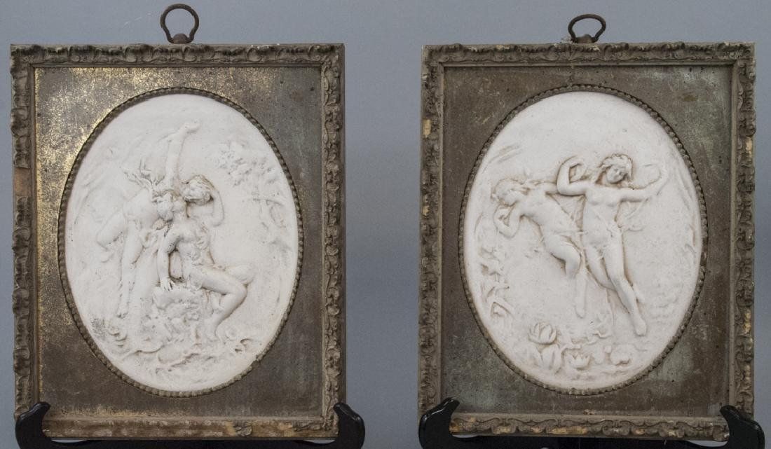 Pair Vintage Cast Framed Decorative Wall Plaques