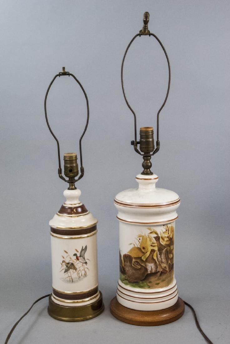 Two Porcelain Table Lamps w Scenes of Game