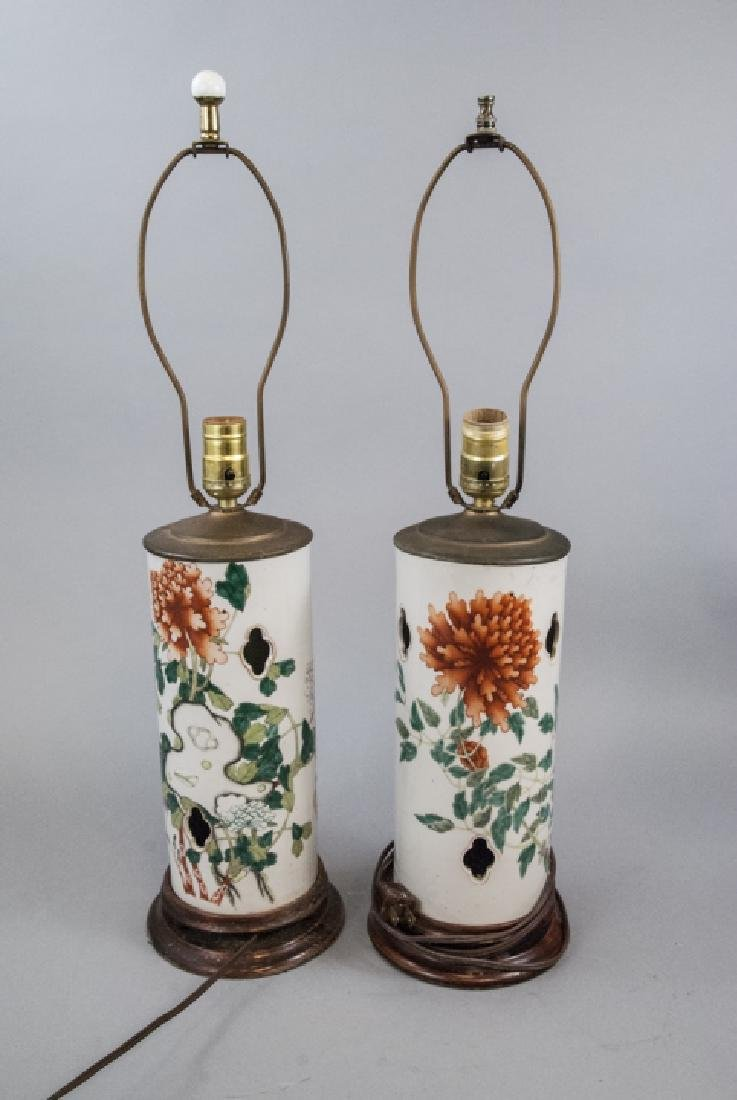 Pair Hand Painted Chinese Porcelain Hat Stand Lamp