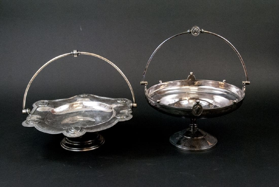 19th C Victorian Silver Plate Compotes w Cameos
