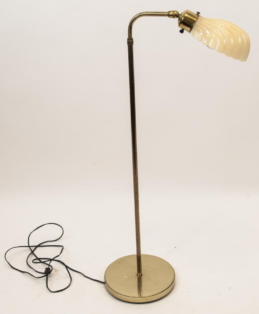 Art Deco Style Glass Shade Brass Floor Lamp