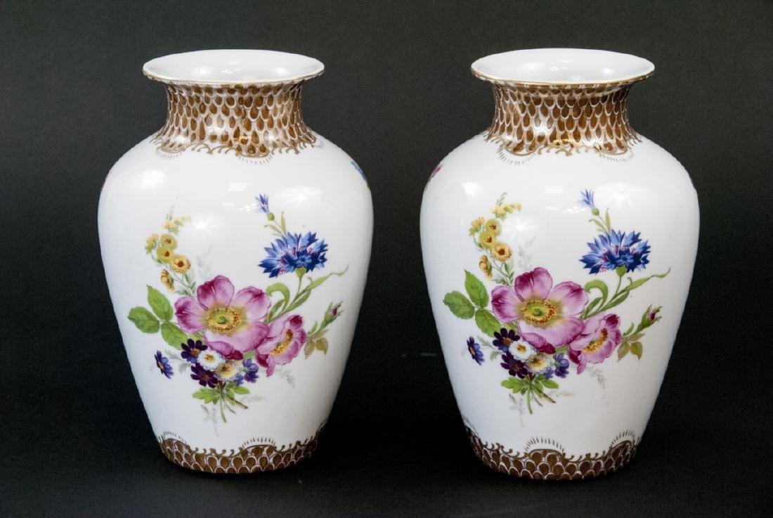 Pair Paris Royal Hand Painted Floral Vases