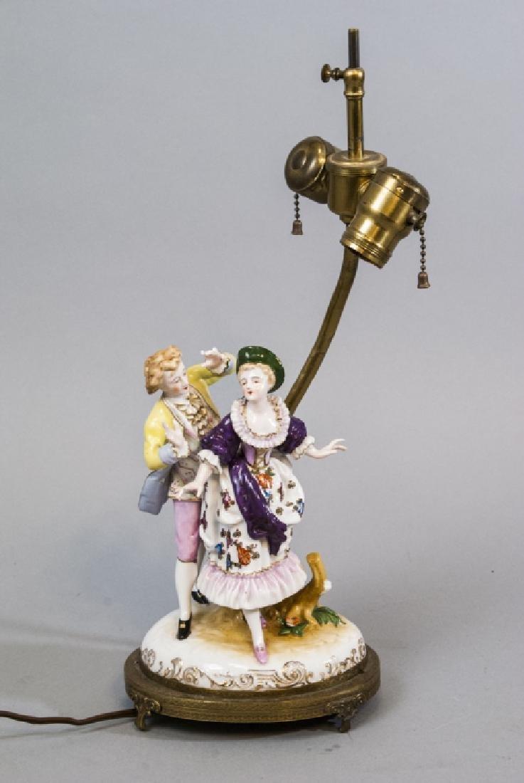Antique Meissen Style Porcelain Figure Mount Lamp