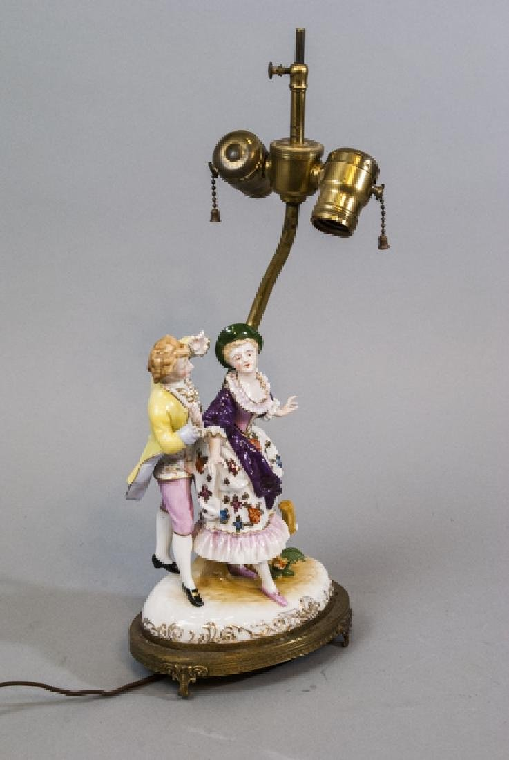 Antique Meissen Style Porcelain Figure Mount Lamp - 2