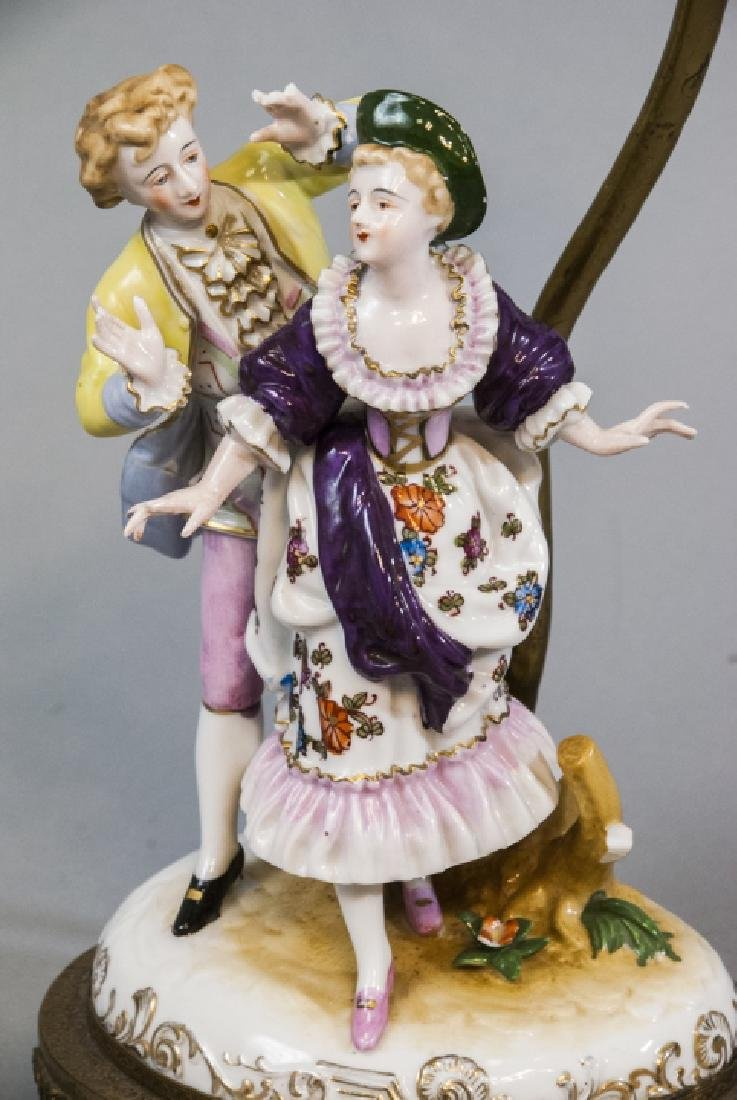 Antique Meissen Style Porcelain Figure Mount Lamp - 3