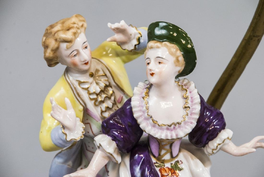 Antique Meissen Style Porcelain Figure Mount Lamp - 4