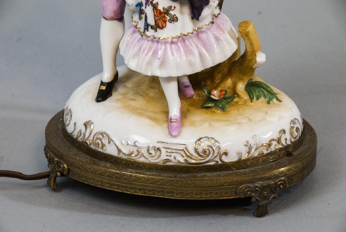 Antique Meissen Style Porcelain Figure Mount Lamp - 5