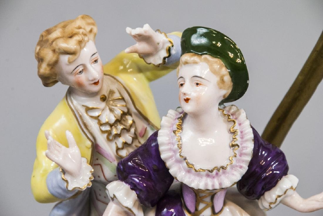 Antique Meissen Style Porcelain Figure Mount Lamp - 6