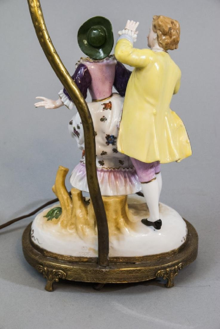 Antique Meissen Style Porcelain Figure Mount Lamp - 7