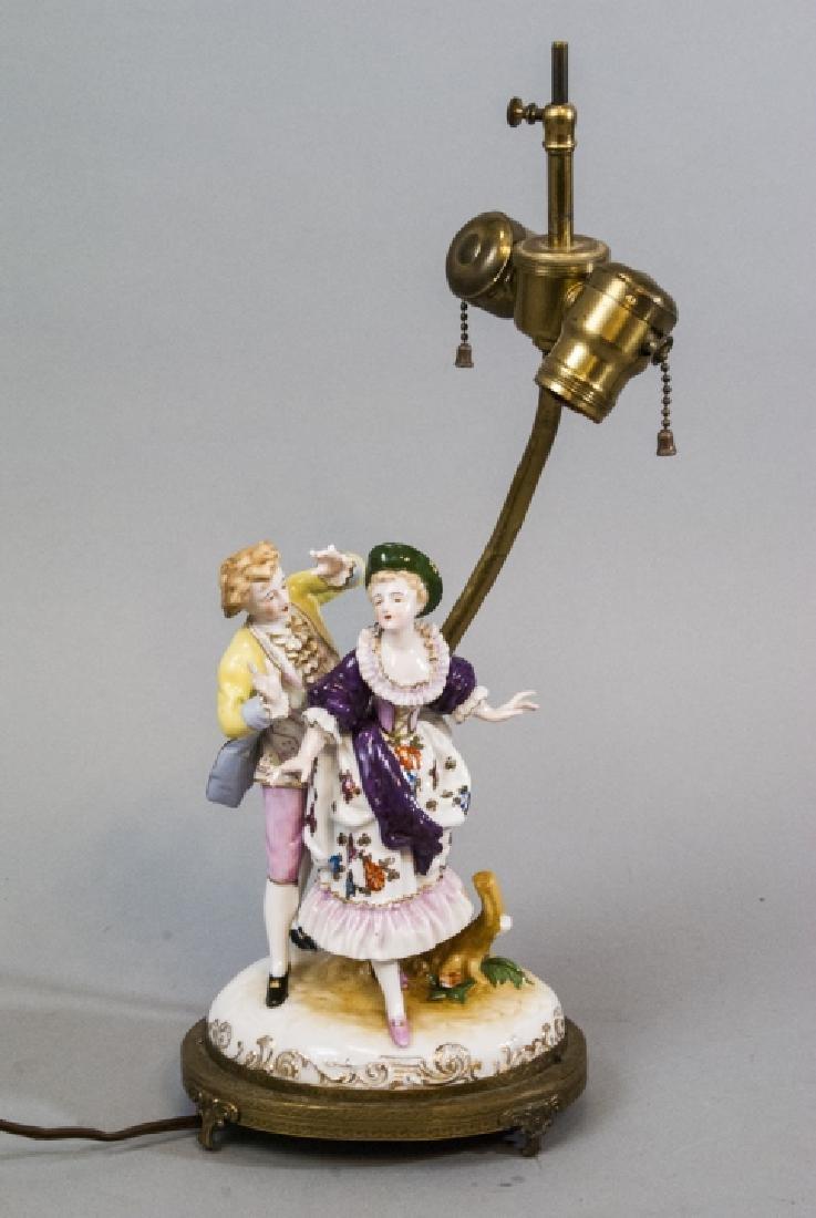 Antique Meissen Style Porcelain Figure Mount Lamp - 8