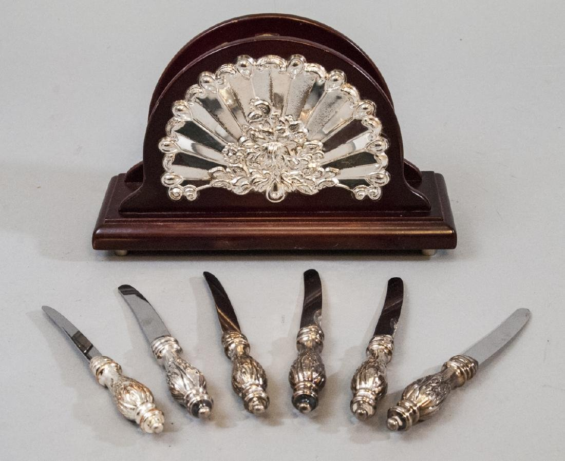 Sheffield Silver Plate Napkin Holder & Knife Set