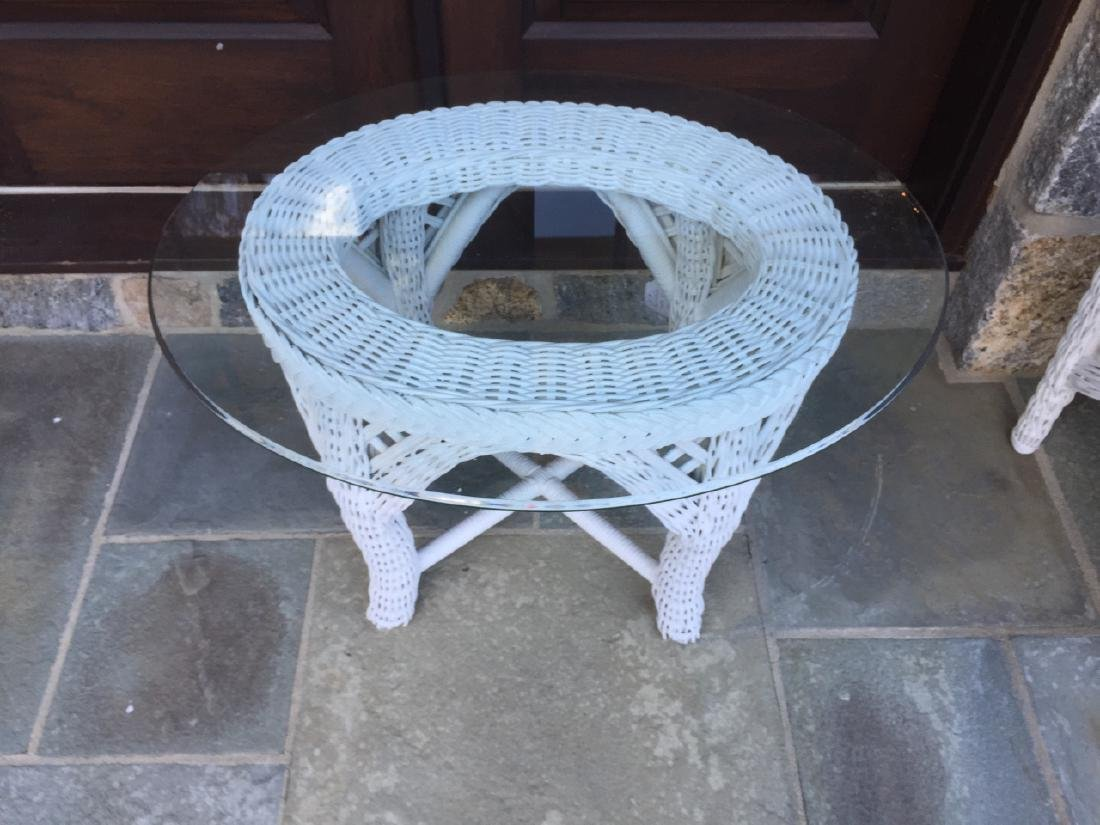 Garden / Patio / Outdoor Wicker & Glass End Table