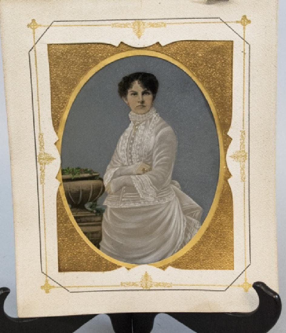 Large Antique 19th C Hand Painted Tin Type Photo