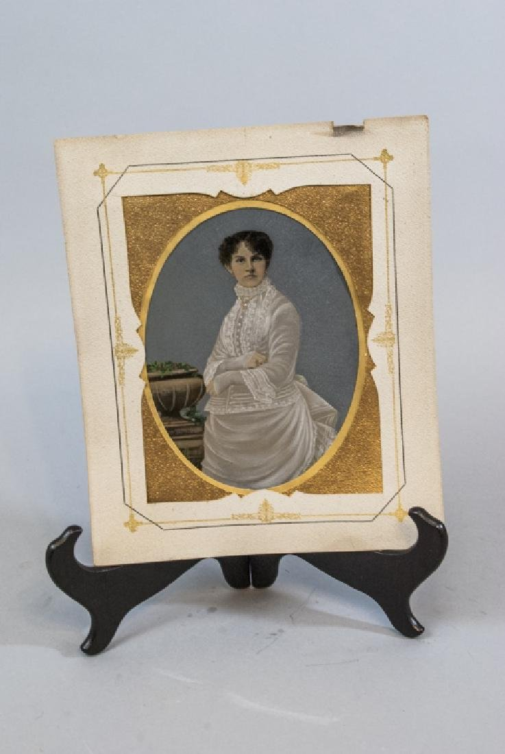 Large Antique 19th C Hand Painted Tin Type Photo - 2