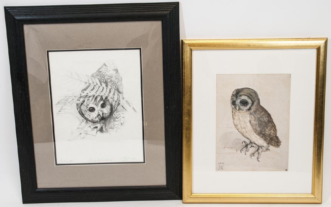 Two Framed Owl Prints, One Pencil-Signed
