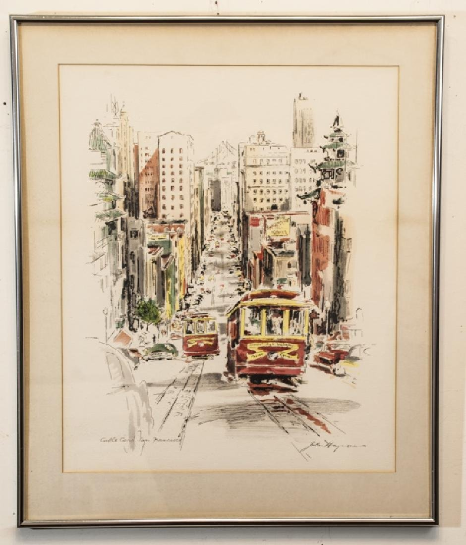 Framed & Matted Print of San Francisco Cable Cars