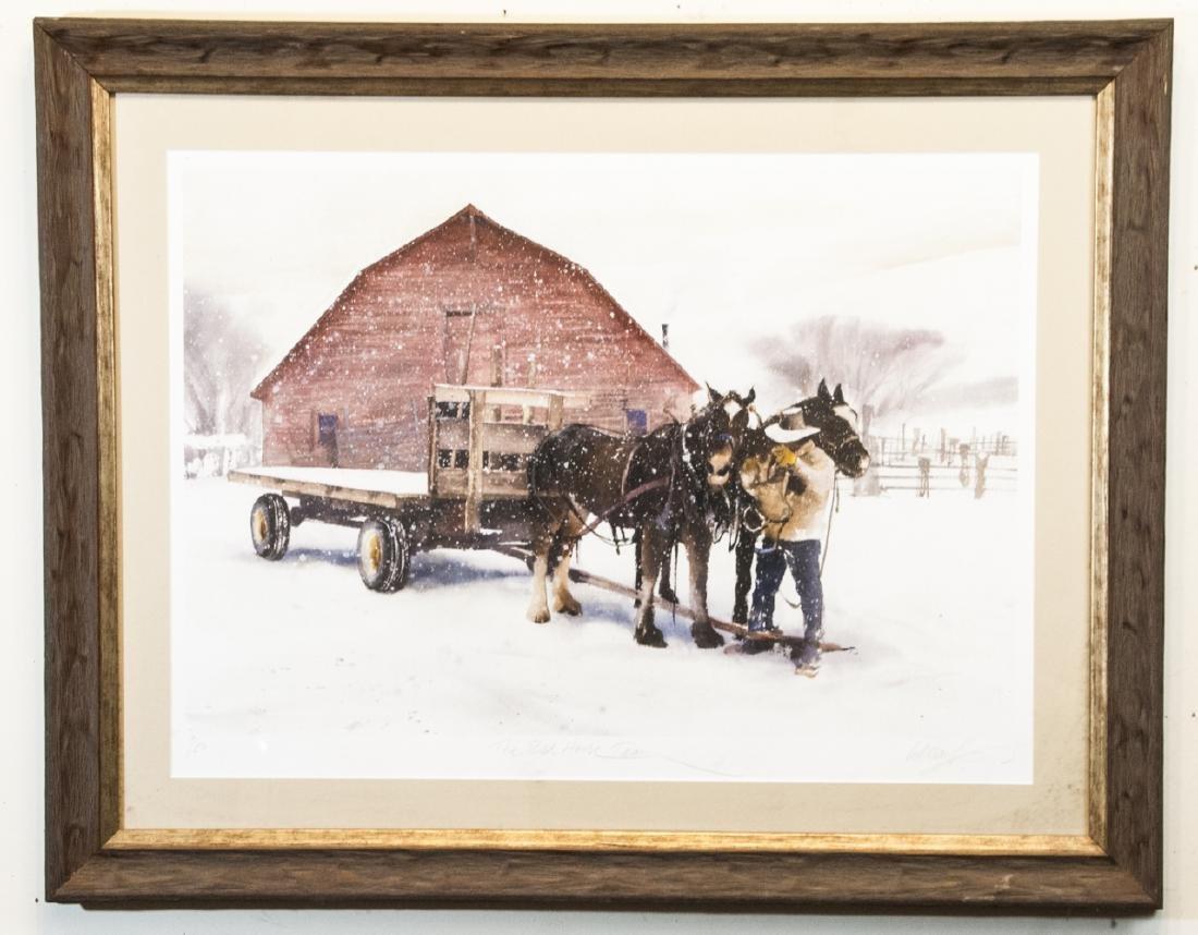Matthews Signed Print of Western Horse Farm Scene