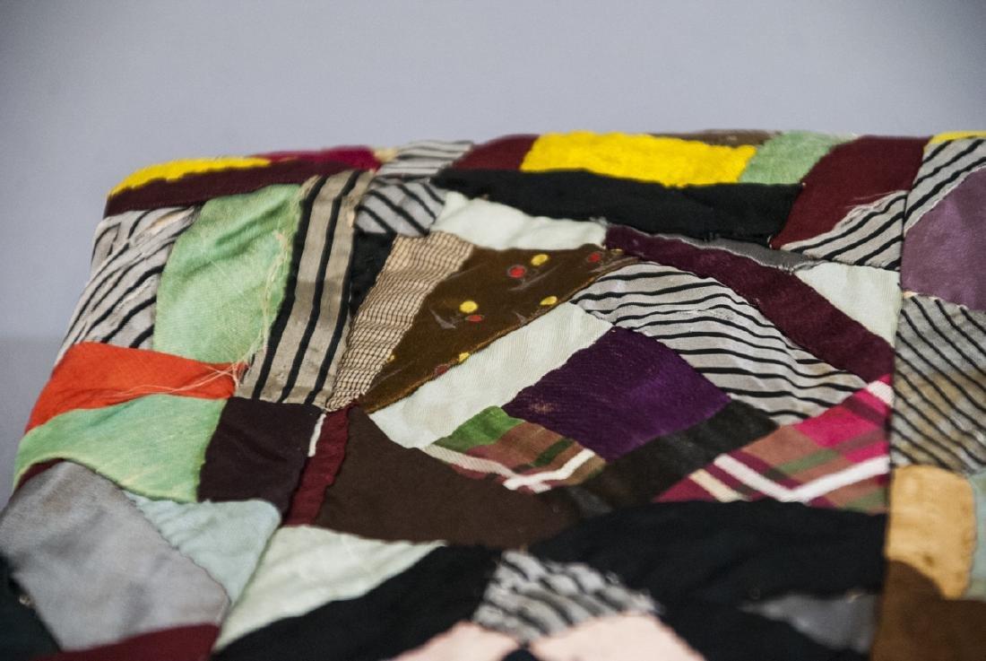 Antique American Hand Sewn Patchwork Crazy Quilt - 3