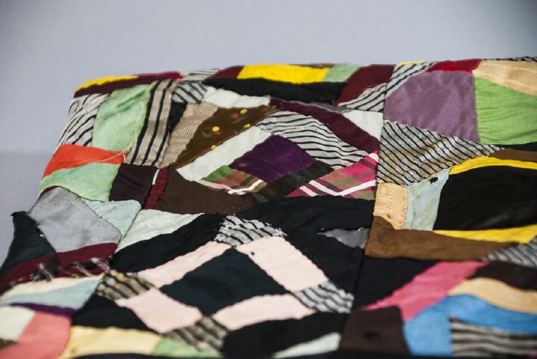 Antique American Hand Sewn Patchwork Crazy Quilt - 6