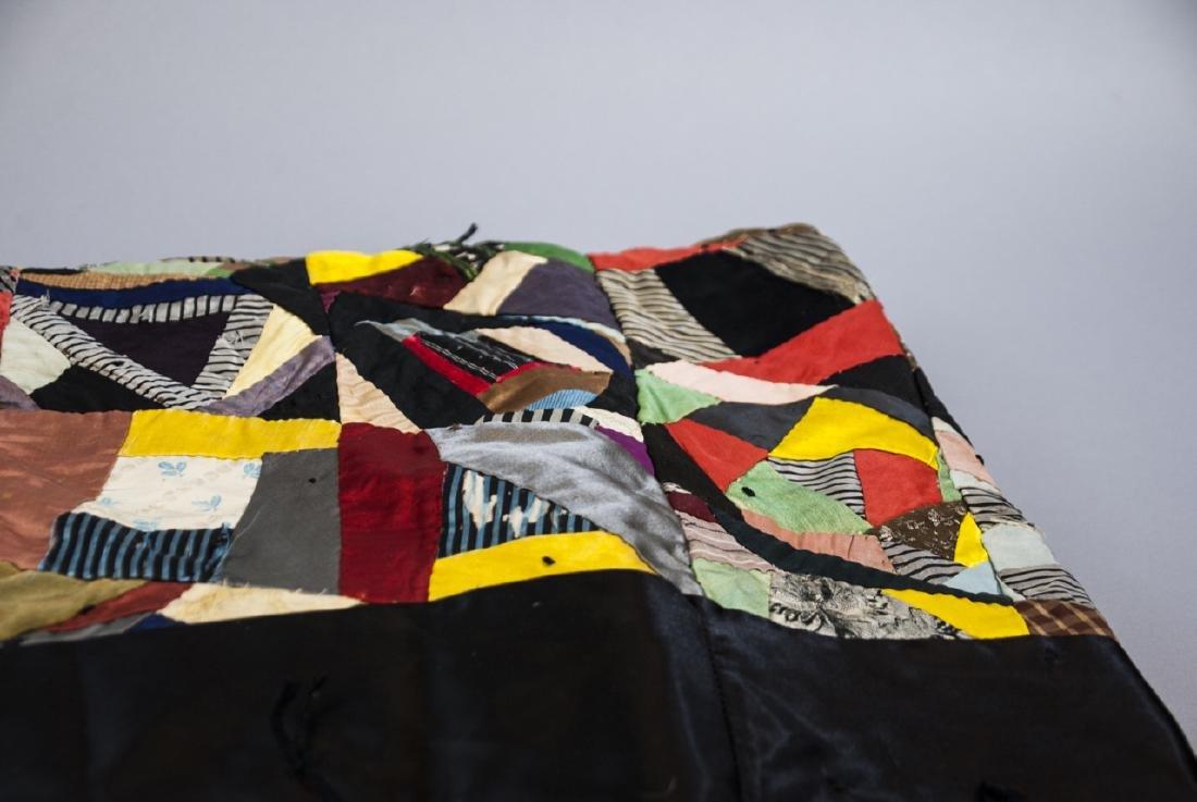 Antique American Hand Sewn Patchwork Crazy Quilt - 7