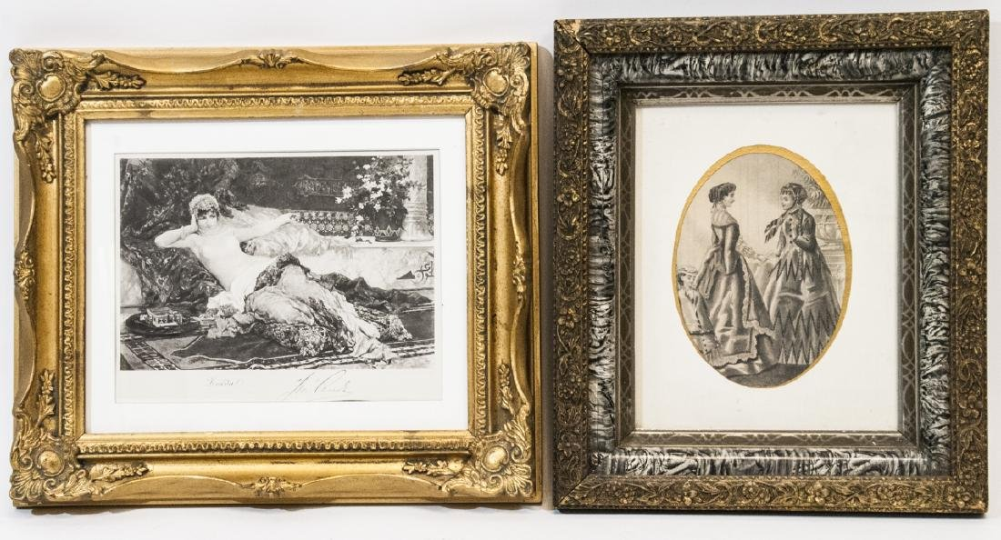 Two Antique 19th C Gilt Frames w Fashion Prints