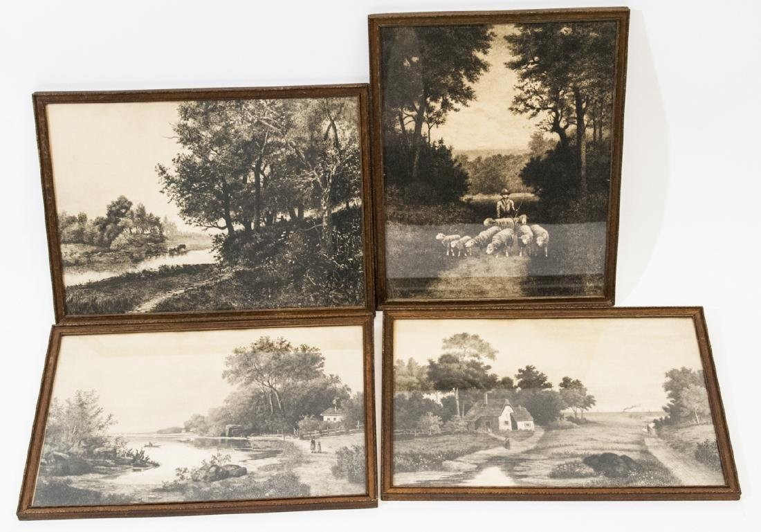 4 Pastoral Landscape Prints from Antique Etchings