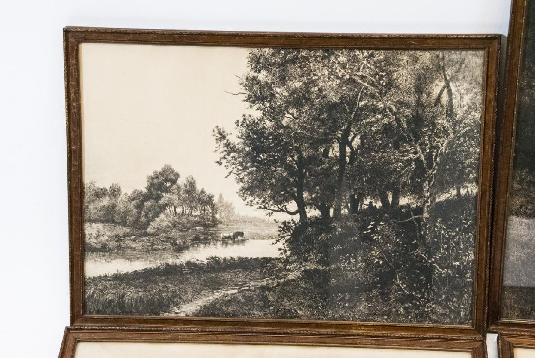 4 Pastoral Landscape Prints from Antique Etchings - 2