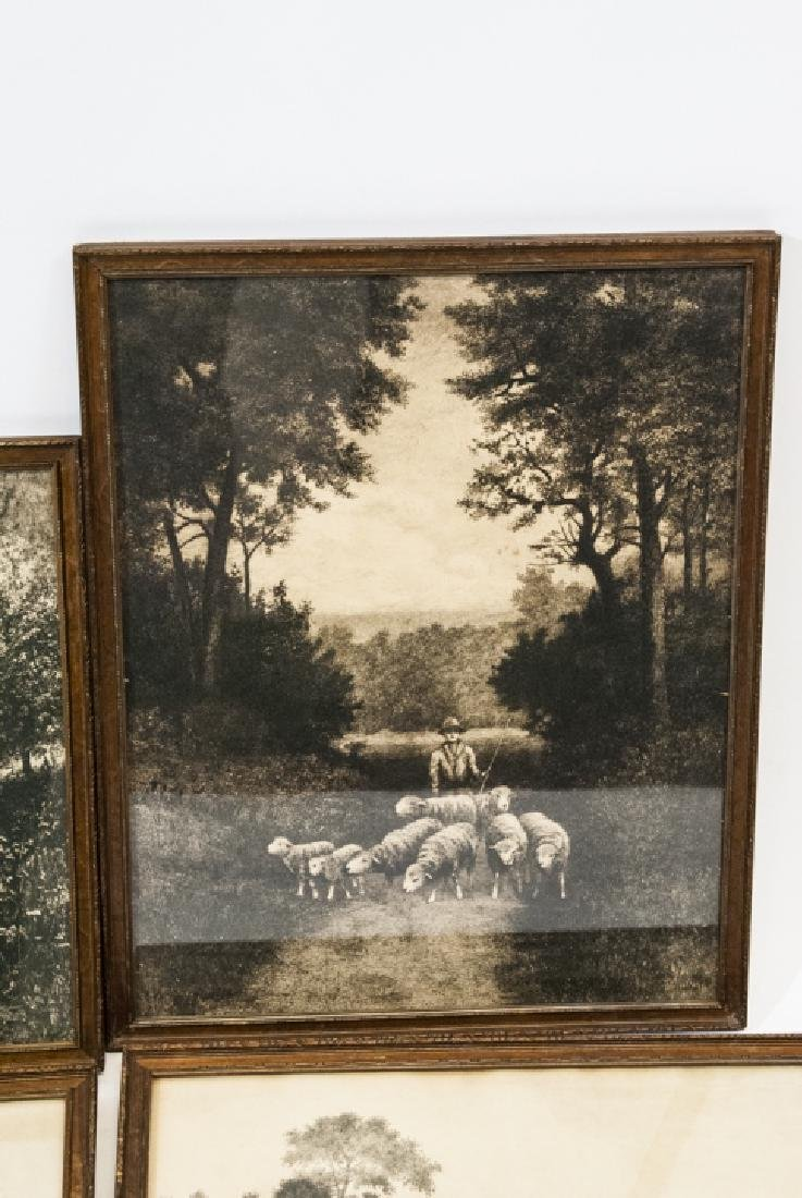 4 Pastoral Landscape Prints from Antique Etchings - 3