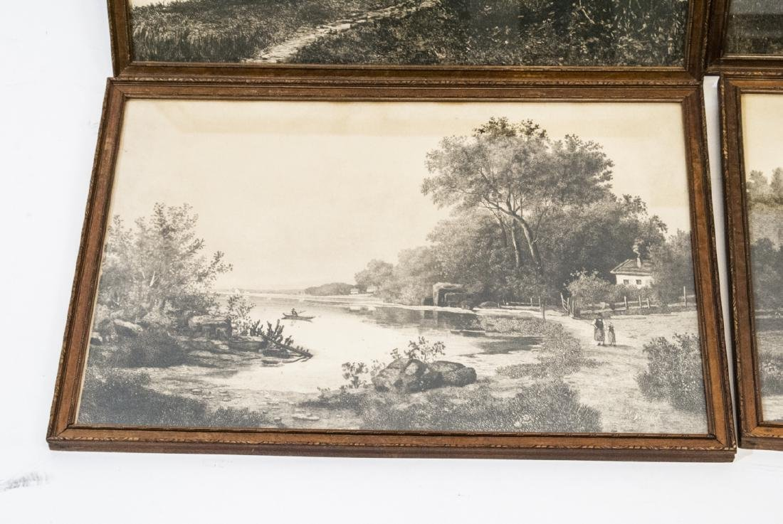 4 Pastoral Landscape Prints from Antique Etchings - 4