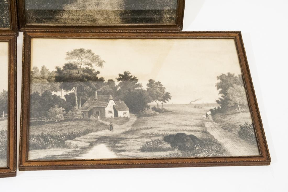 4 Pastoral Landscape Prints from Antique Etchings - 5