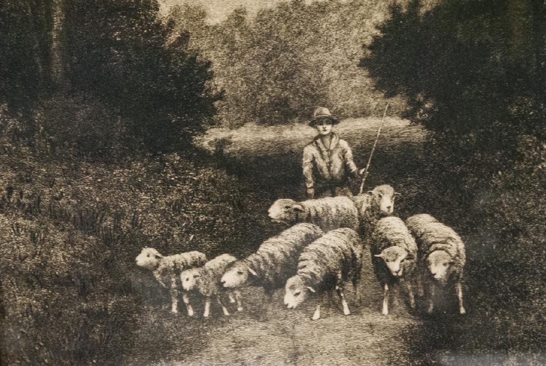 4 Pastoral Landscape Prints from Antique Etchings - 6