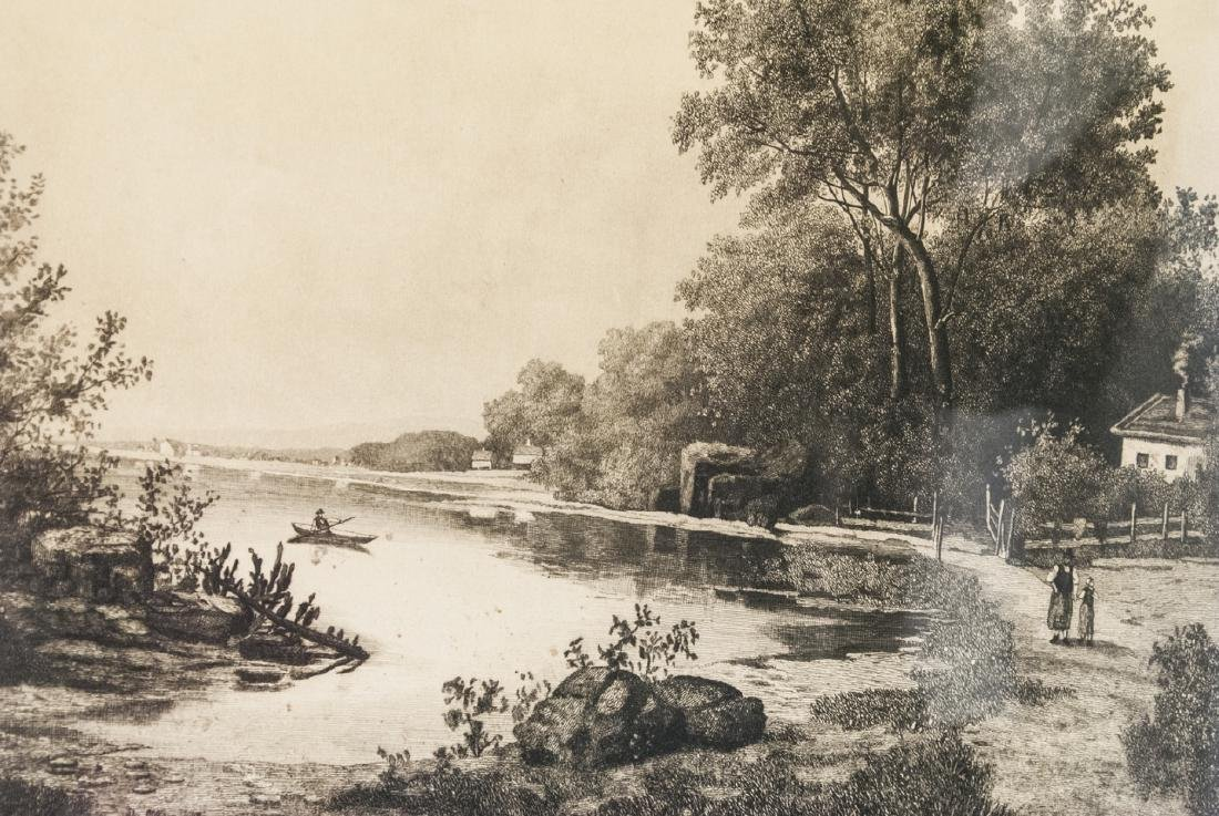 4 Pastoral Landscape Prints from Antique Etchings - 9