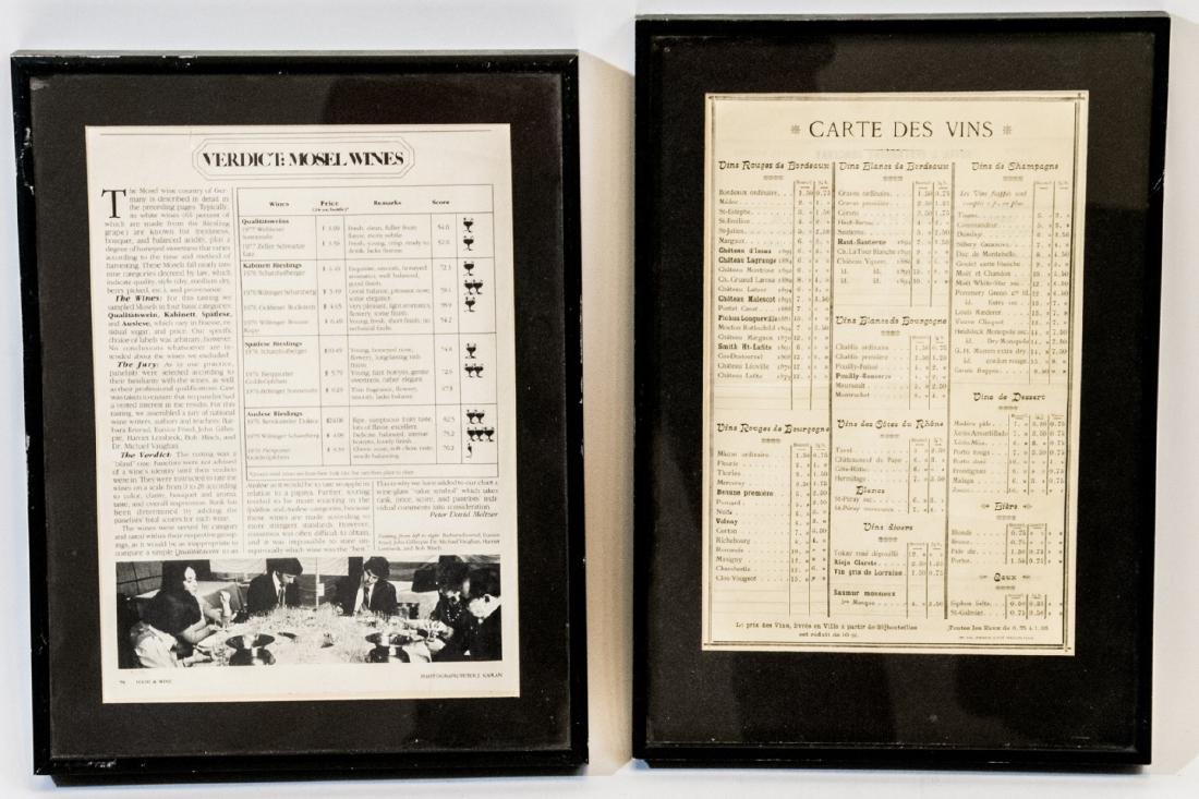Vintage Framed French Wine Menu & Wine Article