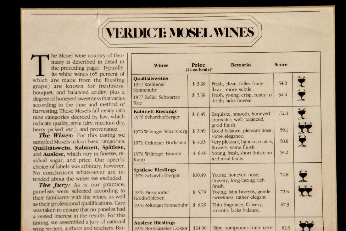 Vintage Framed French Wine Menu & Wine Article - 5