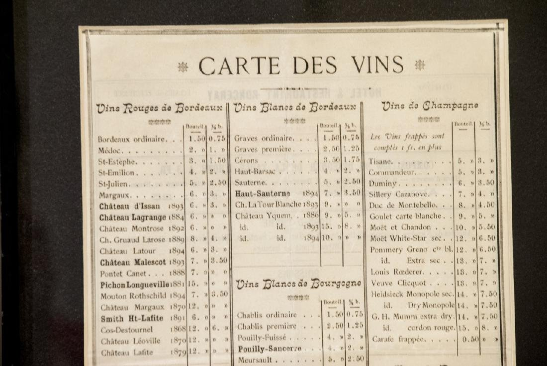 Vintage Framed French Wine Menu & Wine Article - 8