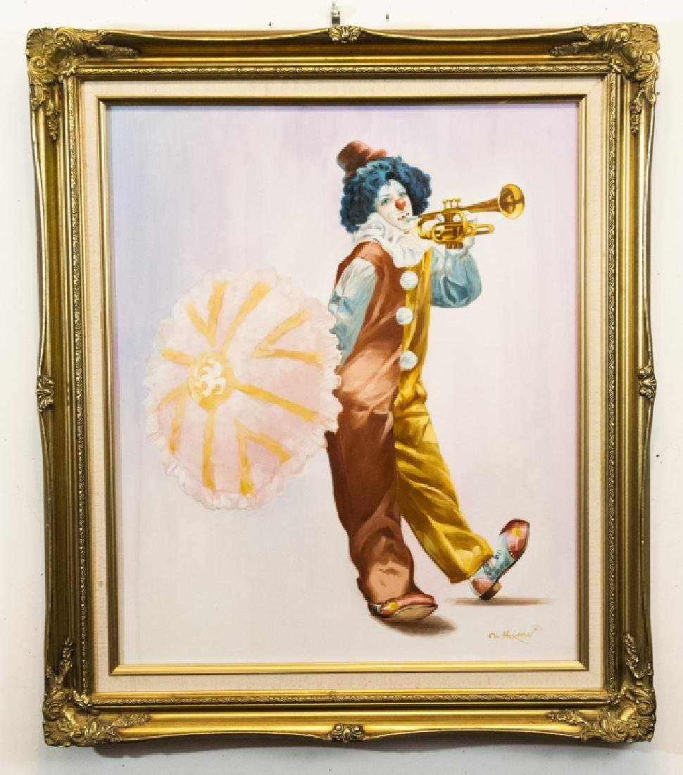 Oil Painting of Clown w Trumpet Signed M. Herman