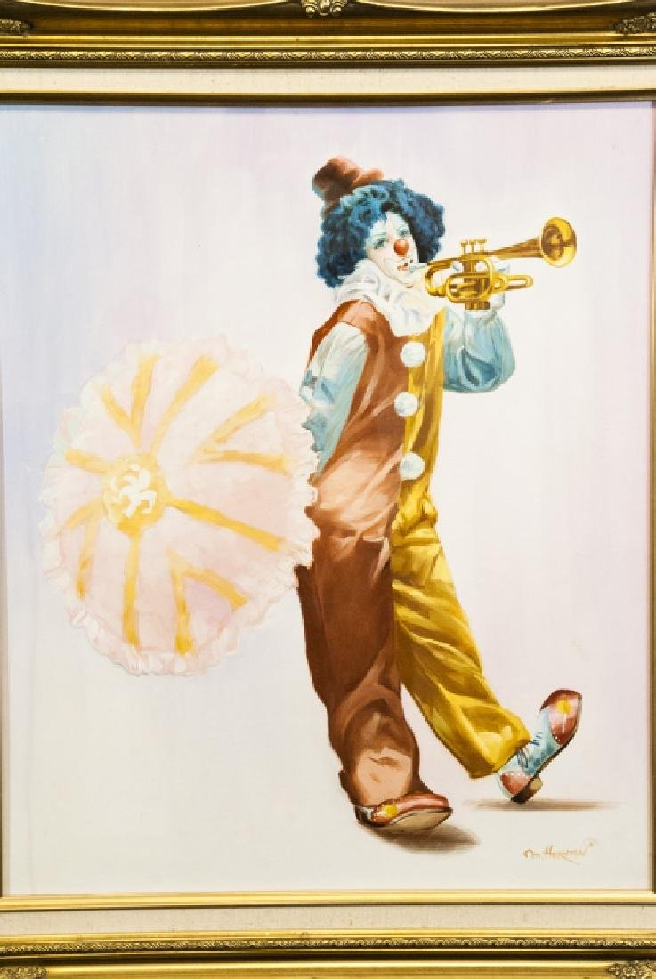 Oil Painting of Clown w Trumpet Signed M. Herman - 2