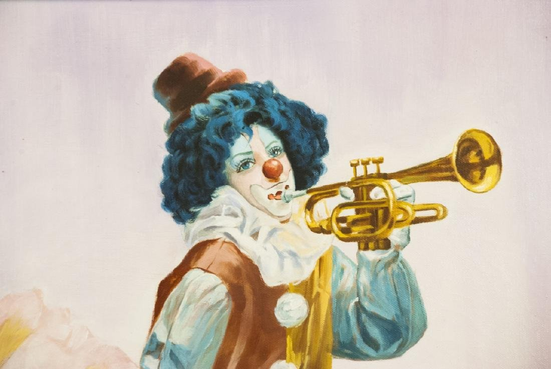 Oil Painting of Clown w Trumpet Signed M. Herman - 3