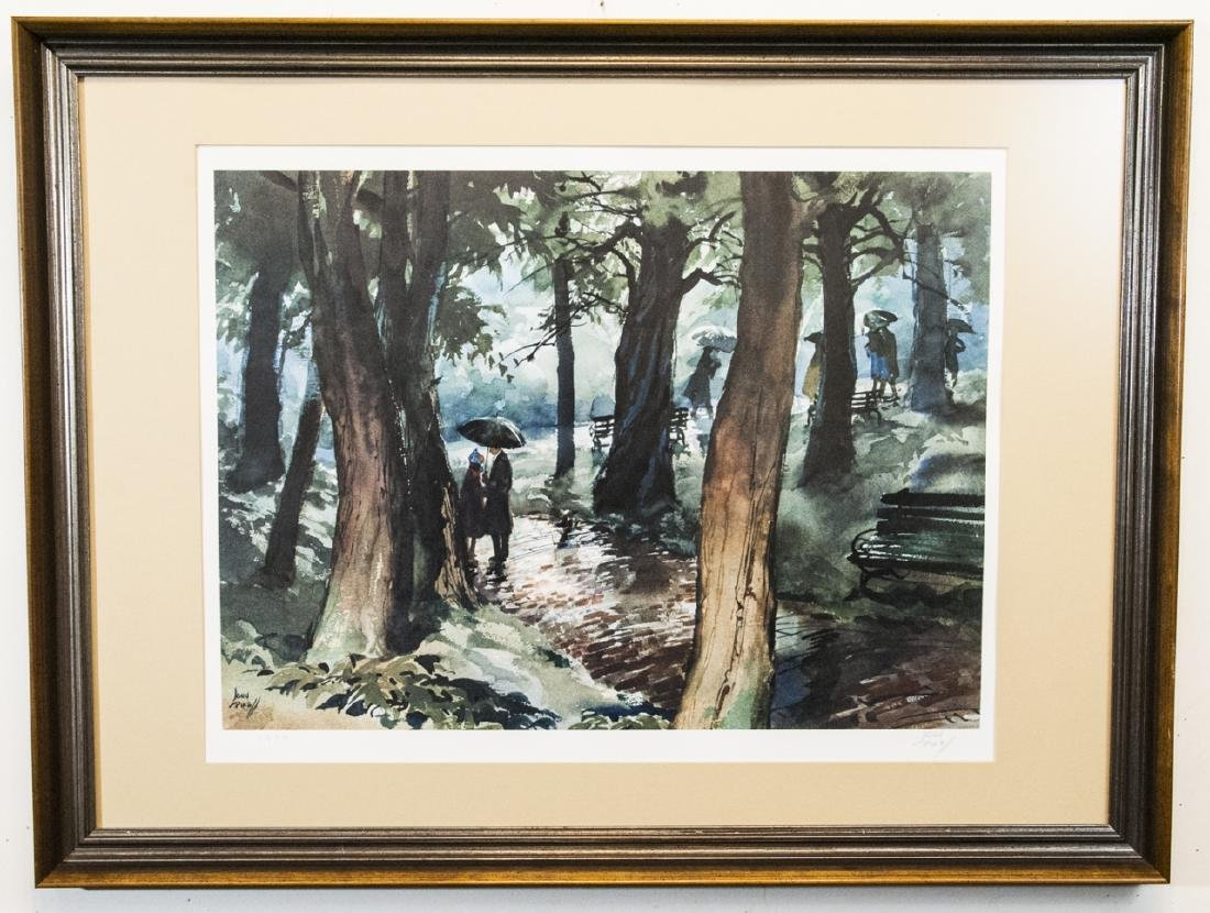 Pencil Signed Print by John Pike Walk in the Rain
