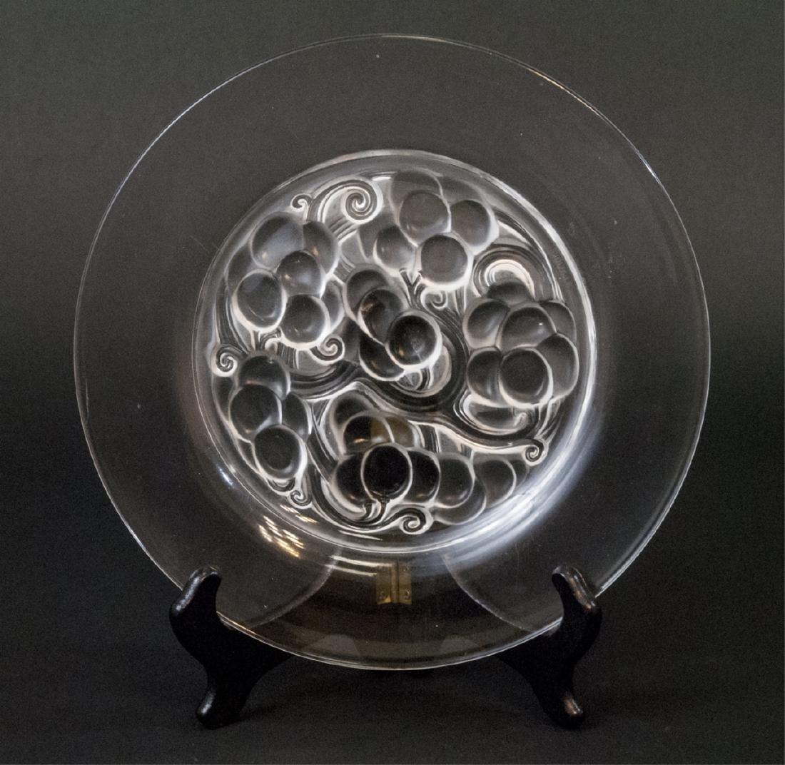 R Lalique French Art Glass Grape Motif Plate