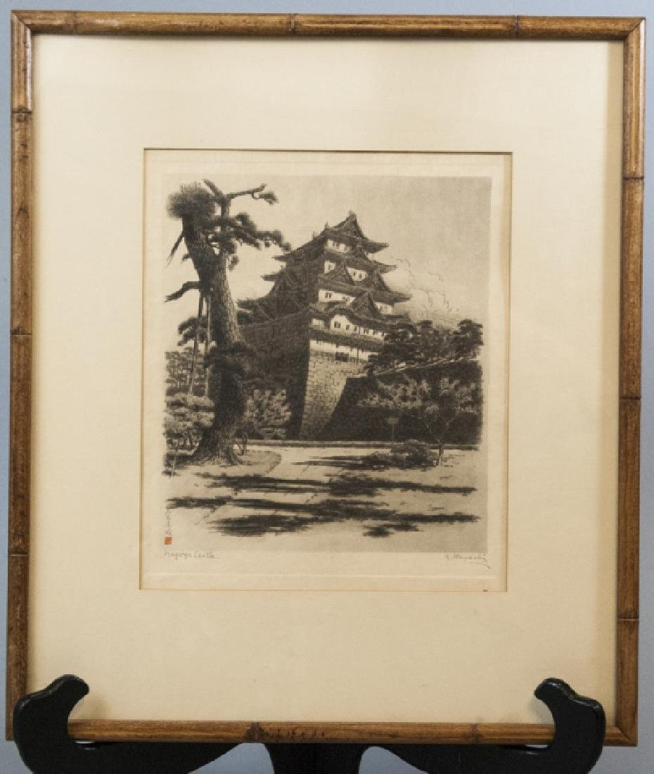 Framed B & W Sketch of Castle Signed by T. Hayashi