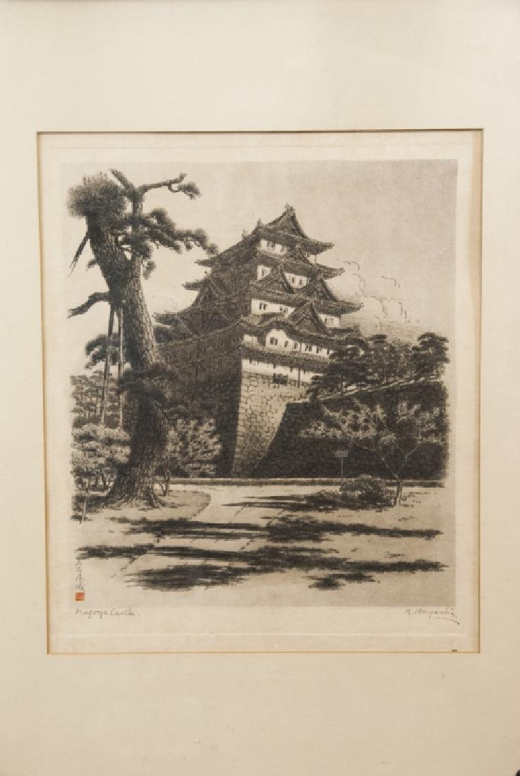 Framed B & W Sketch of Castle Signed by T. Hayashi - 3