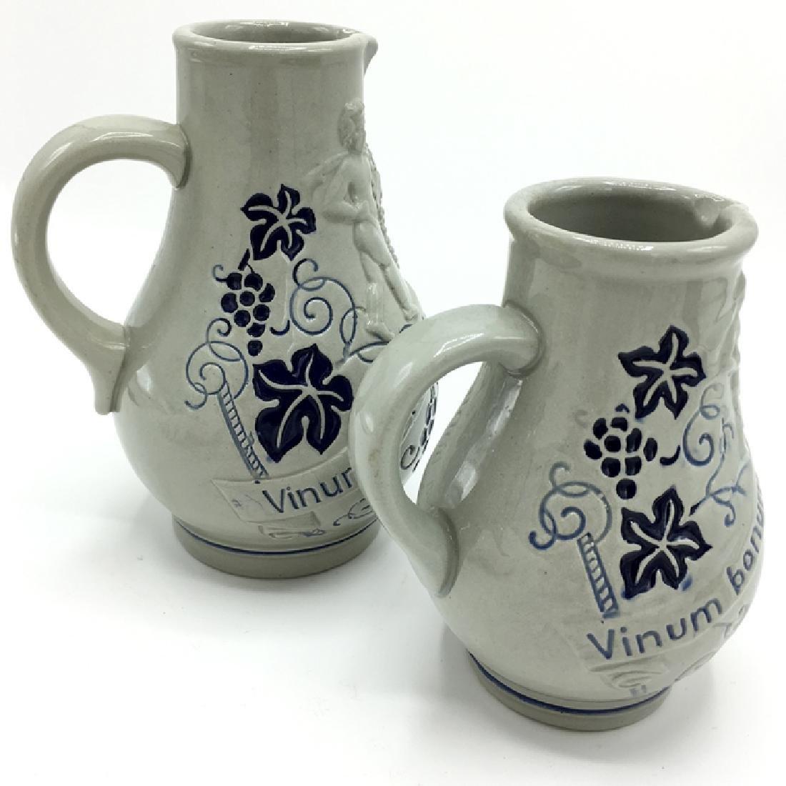 Vintage Wine Pitchers Cherubs Latin Phrase