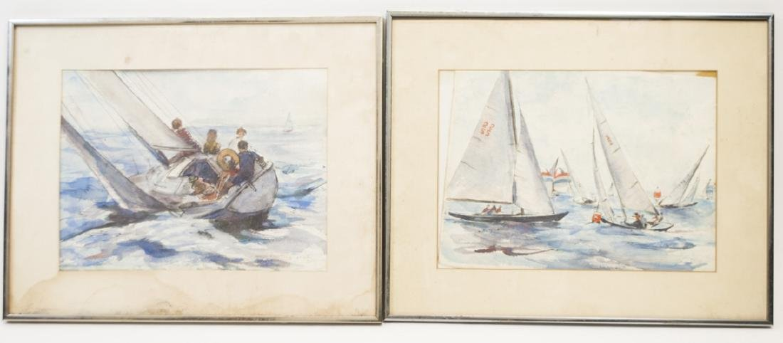 Pair of Grace Huntley Pugh Signed Sea Paintings