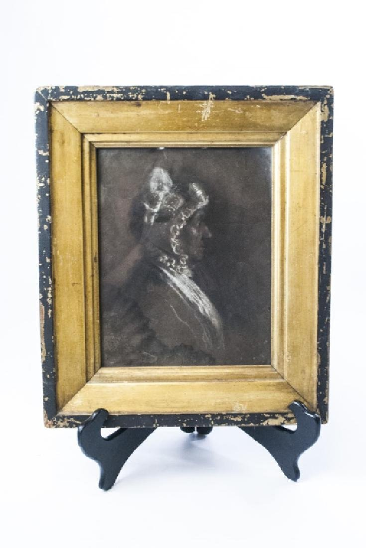 Antique Early American 19th C Gilt Frame Portrait