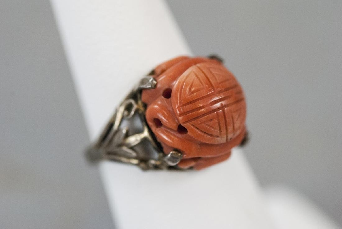 Estate Chinese Carved Coral & Silver Ring