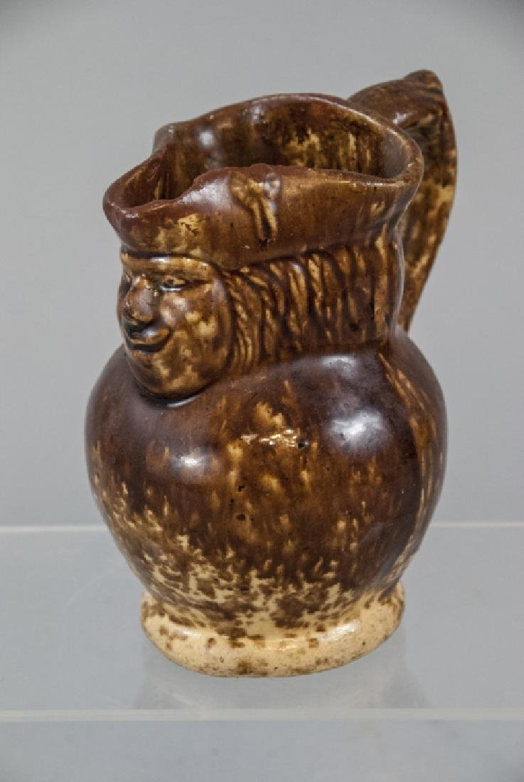 Antique 19th C Redware Pottery Toby Jug Pitcher