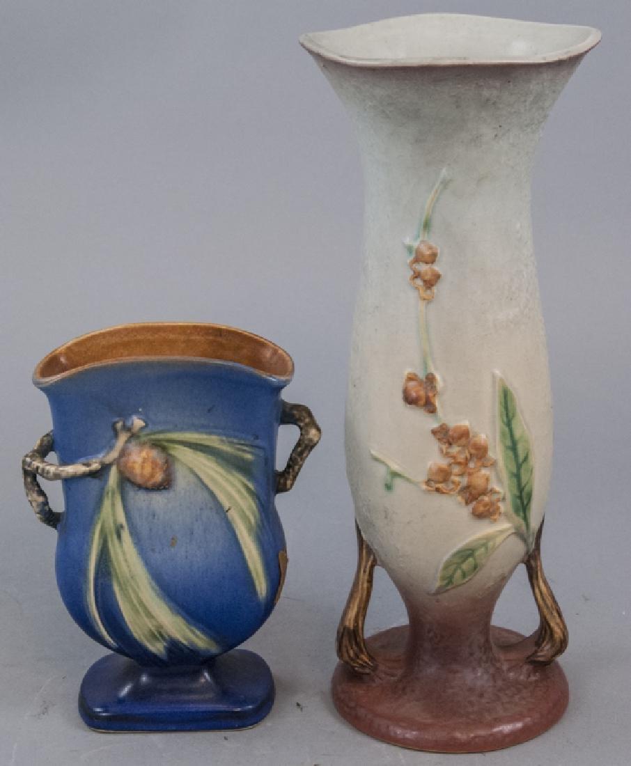 Two Roseville Art Pottery Vases w Handles