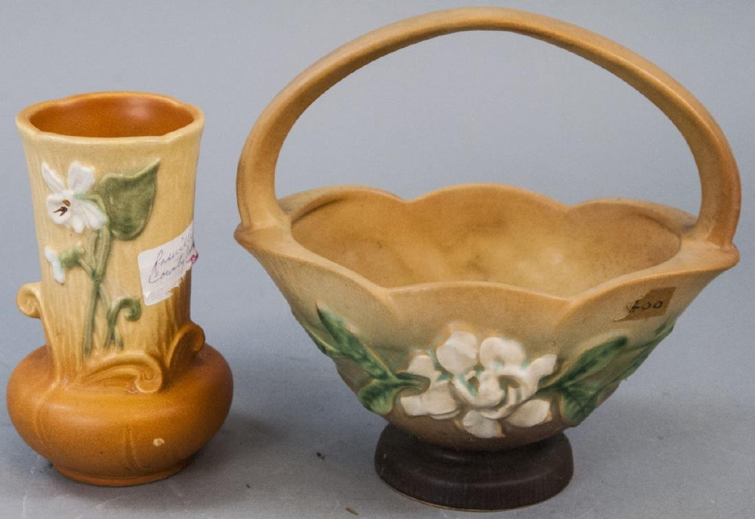 Roseville Art Pottery Vase & Basket